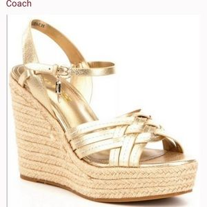 Coach Dottie leather gold wedge sandals size 8.5